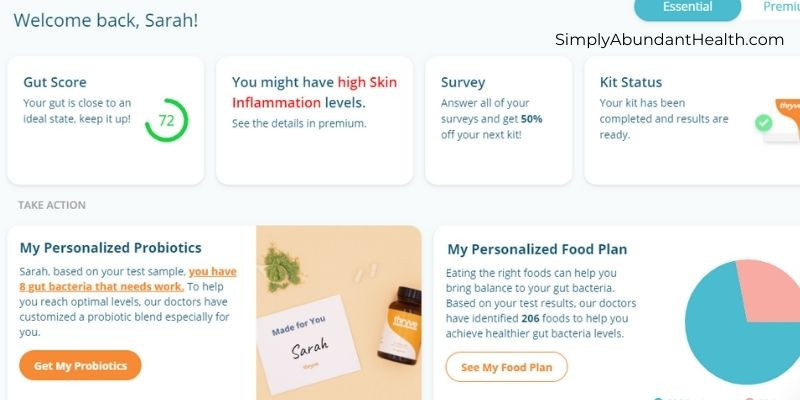 Thryve Gut Health Testing Kit Dashboard